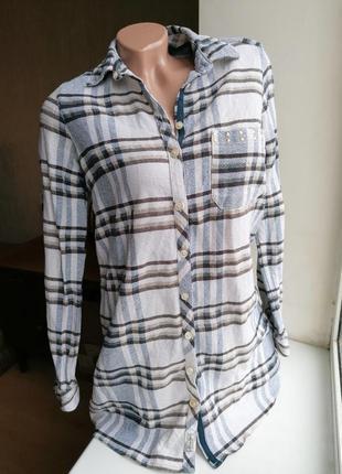 Натуральная рубашка в клетку falmer heritage (лен хлопок) (к077)