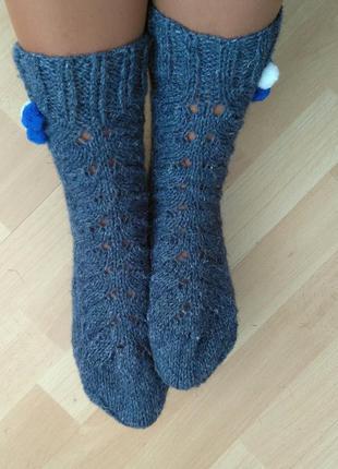 Женские носки из шерсти с узором колосок цвет джинс разм 37-38