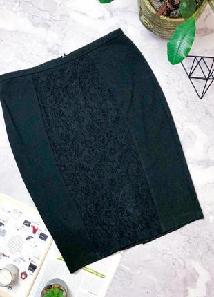 Стильная юбка миди с кружевной вставкой papaya