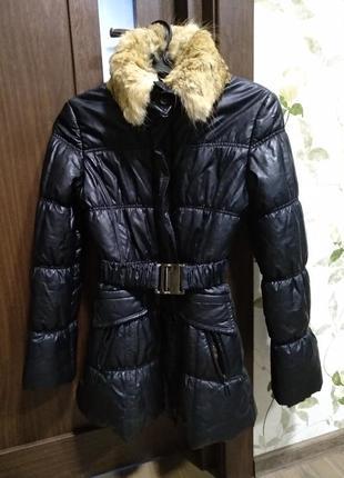 Куртка курточка пуховик черный под кожу