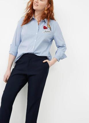 Темно-синие укороченные брюки mango,женские классические брюки...
