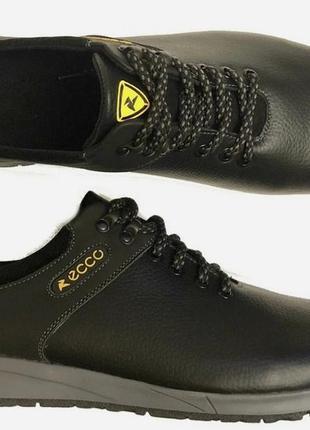 Мужские кожаные черные кроссовки большого размера ecco батал 4...