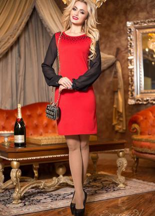 Нарядное красное платье женское, р. 48, трикотаж джерси