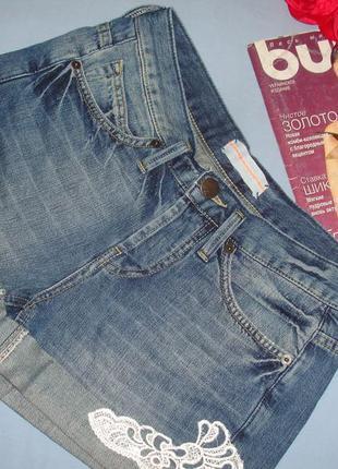 Шорты джинсовые женские летние размер 40 /6 с вышивкой кружева...