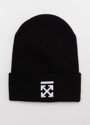Зимняя шапка off white крест черная