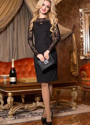 Нарядное и элегантное платье р. 46, эко замша