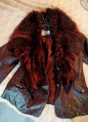 Куртка натуральная кожаная теплая зимняя с воротником манто из...