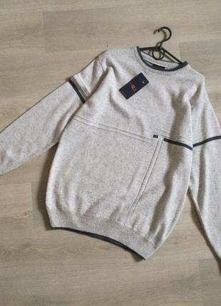 Новый мужской свитер м-ка с этикетками, шерсть