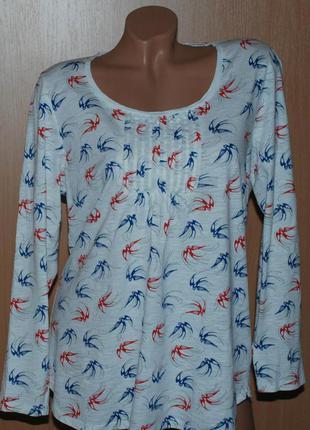 """Блуза  бренда marks & spencer /100%хлопок/в принт """" птички """"/"""