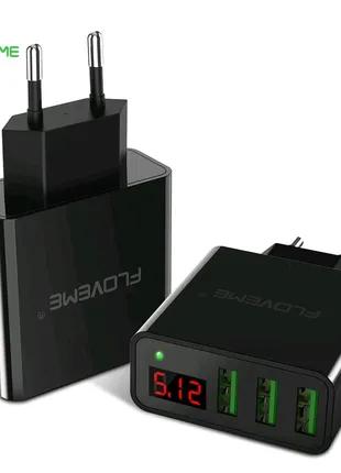 Зарядка Quick charge 5V/3A 3 USB Floveme - заряджає одразу 3 дева