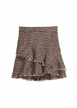 Красивая твидовая юбка воланами мульти цвет