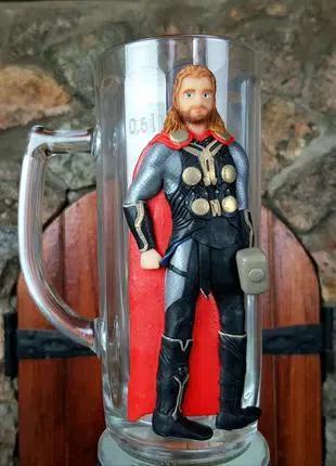 Коллекционный пивной бокал с декором Тор мстители MARVEL хэндмейд