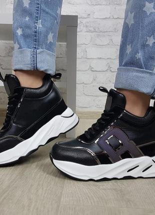 Новые шикарные женские черные ботинки сникерсы