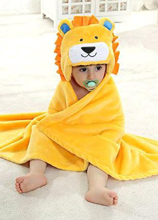 Полотенце детское с капюшоном конверт уголок лев львёнок