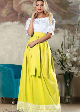 Женская летняя юбка в пол, размеры от 42 до 48, стрейч-коттон