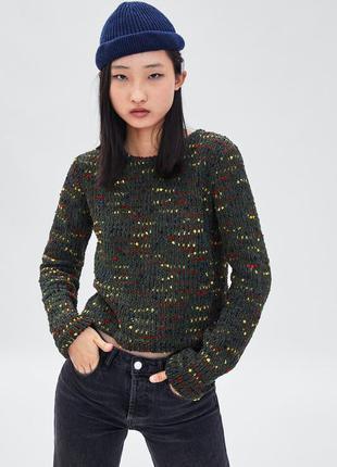 Укороченый свитер из синели от zara