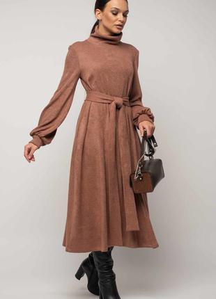 Трикотажное теплое платье 2020 цвет пыльной розы🔥