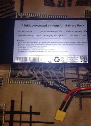 Li-Ion аккумулятор для электровелосипеда 36В 12Ач + Зарядка 2А