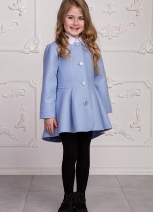 Демисезонное пальто для девочек, р. 110, кашемир, голубое