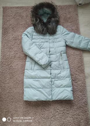 Пальто зимнее чернобурка