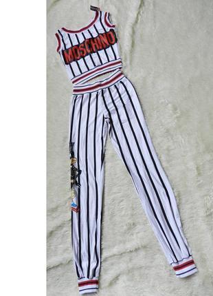 ✅ крутой полосатый костюмчик пижамка с резинкой лампасами надп...