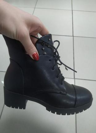 Женские зимние ботинки на каблуке