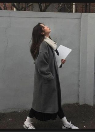 Шестяное теплое пальто халат двухбортное оверсайз  desarbre ви...