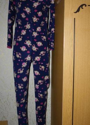 Флисовая пижама человечек, обезьянки, 158 рост,s-m