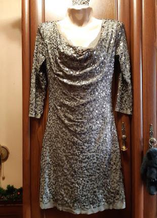 Короткое стрейчевое платье с пайетками блестками блестящее stu...
