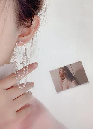 Стильные серьги овал с цепочками/жемчужинки/цепи/кристаллы/нов...
