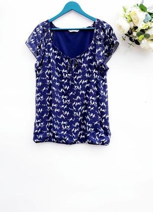 Шифоновая блузка с птичками блуза летняя блуза большой размер