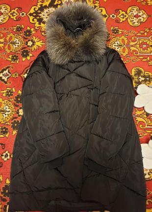 Зимняя куртка 54 размер с мехом енота