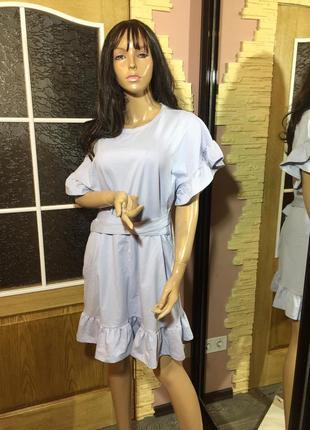 Платье -футболка с воланами