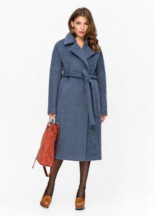 Шикарная женская зимняя длинная синяя искусственная шуба пальт...
