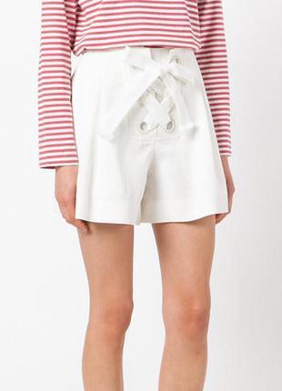 Белые шорты короткие юбка на шнуровке zara шортики хлопковые б...