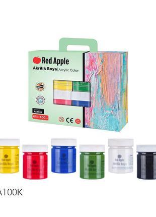 """Краски """"Пальчиковые"""", 6 цветов (подарочная упаковка) Red Apple..."""