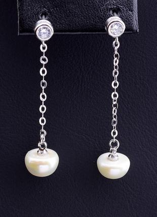 Серьги 'sunstones' жемчуг серебро(925)