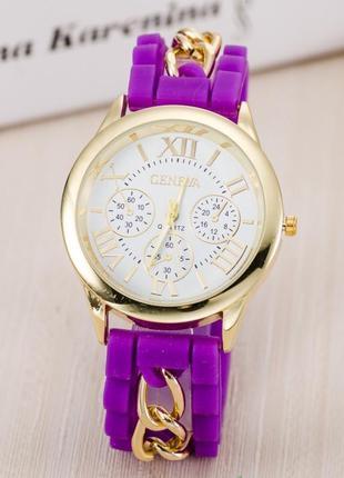 Часы женева с силиконовым ремешком и цепочкой