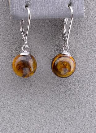 Серьги 'sunstones' тигровый глаз серебро(925) 0790560