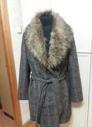Пальто в клетку new look р.50-52.много вещей больших размеров