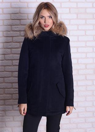 Зимняя женская кашемировая парка пальто с натуральным мехом ен...