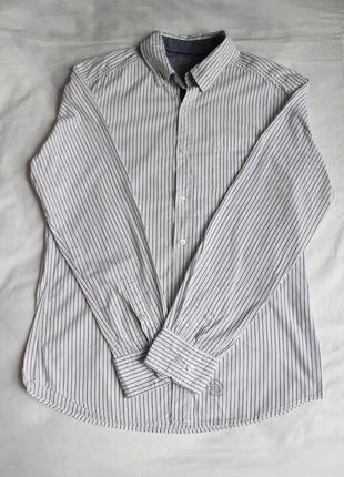 Полосата приталена біла сорочка mexx в полоску