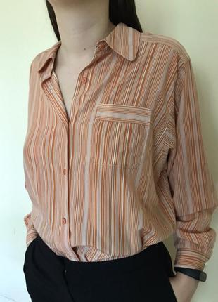 Рижи оранжева в полоску сорочка блузка bomamica