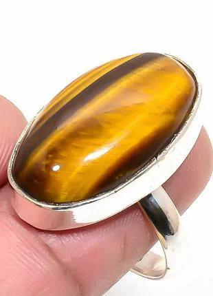 Кольцо Стерлинговое серебро 925 пробы ,камень Тигровый глаз №2