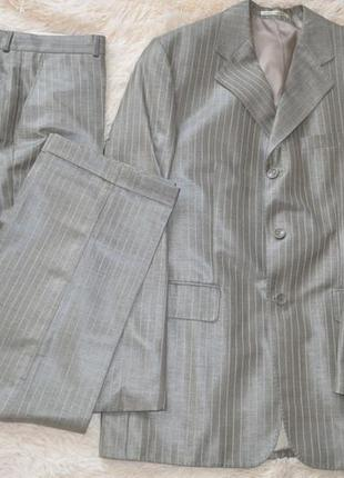 Мужской классический костюм двойка оливкового цвета, размер 48-50