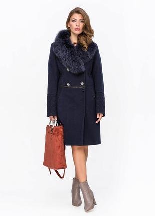 Шикарное зимнее женское синее пальто с натуральным мехом