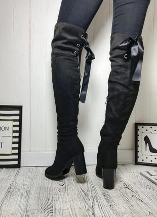 Новые качественные сапоги сапожки на каблуке ботфорты