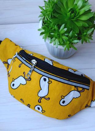 Сумка-бананка с птичками, поясная сумка 20, барсетка, сумка на...