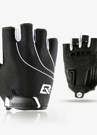 Велоперчатки без пальцев Rockbros black велосипедные перчатки