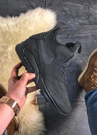 Nike air max 90 high winter black, мужские кроссовки найк, чёр...